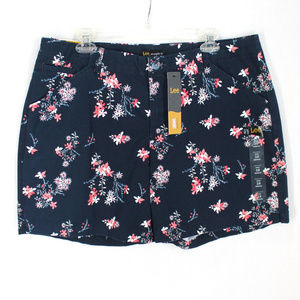 Lee Straight Fit Shorts Sz 16 Blue Pink Floral